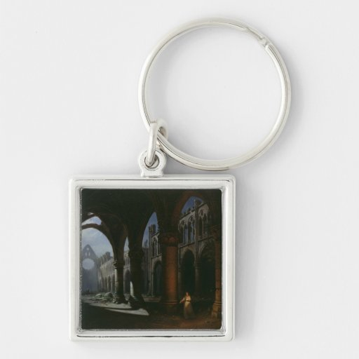 Interior of an Abbey in Ruins, 1848 Keychain