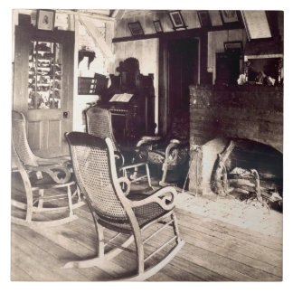 Interior of an American wooden shack, c.1880s (pho Large Square Tile