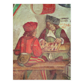 Interior of an Inn, detail of backgammon players Postcard