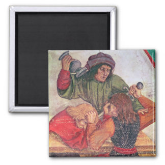 Interior of an Inn, detail of drinkers fighting Square Magnet