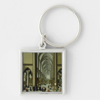 Interior of Antwerp cathedral Silver-Colored Square Key Ring