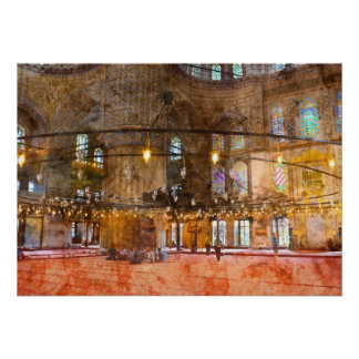 Interior of Blue Mosque in Istanbul Turkey Poster