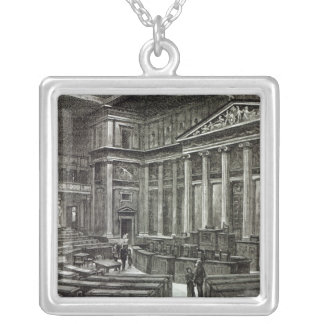 Interior of Houses of Parliament, Vienna Silver Plated Necklace