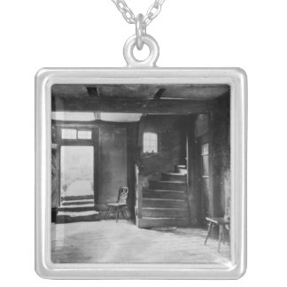 Interior of Johann Sebastian Bach's  house Square Pendant Necklace
