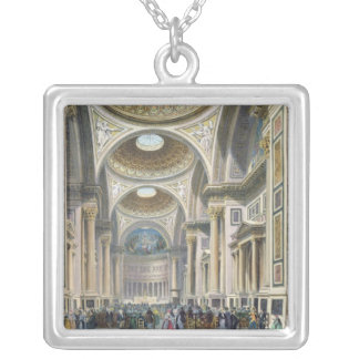 Interior of La Madeleine, Paris Silver Plated Necklace