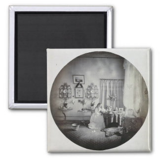 Interior of Muckross House, c.1865 (albumen print) Square Magnet