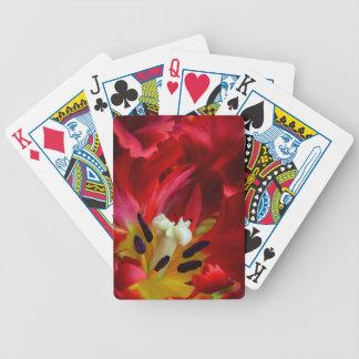 Interior of parrot tulip flower poker deck