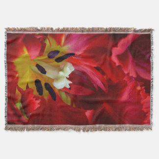 Interior of parrot tulip flower throw blanket
