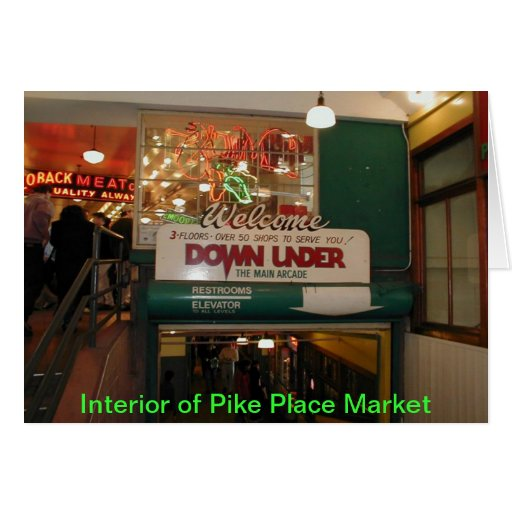 Interior of Pike Place Market Seattle, WA Greeting Card