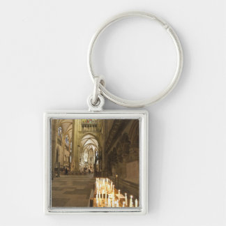 Interior of St. Peter's Cathedral in Regensburg Silver-Colored Square Key Ring