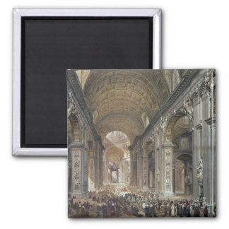 Interior of St. Peter's, Rome, 1867 Square Magnet