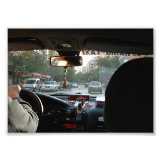 Interior of Taxi circulating around Madrid Photo Print