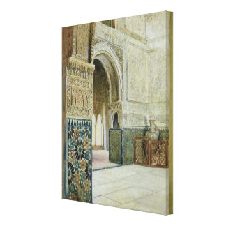 Interior of the Alhambra, Granada (w/c) Canvas Print