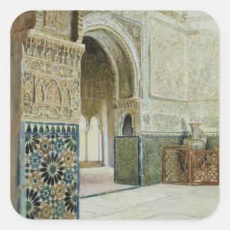 Interior of the Alhambra, Granada (w/c) Square Sticker