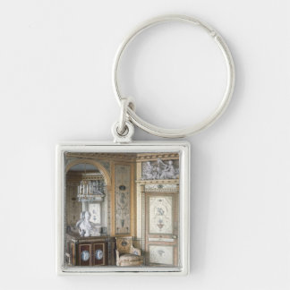Interior of the boudoir of Marie Antoinette Silver-Colored Square Key Ring