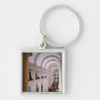 Interior of the cathedral begun in 1078 Silver-Colored square key ring
