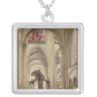 Interior of the Cathedral of St. Etienne, Sens Silver Plated Necklace