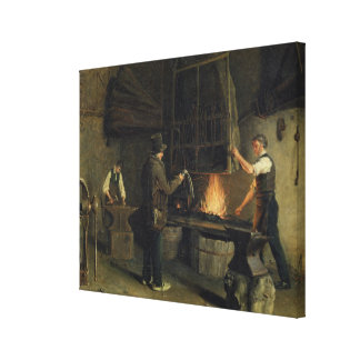 Interior of the Forge, 1837 Canvas Print