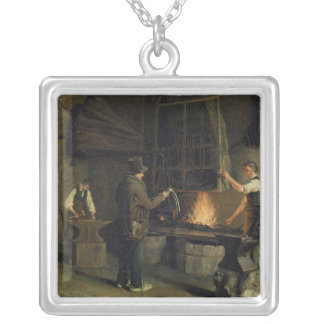 Interior of the Forge, 1837 Silver Plated Necklace