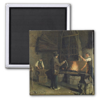 Interior of the Forge, 1837 Square Magnet