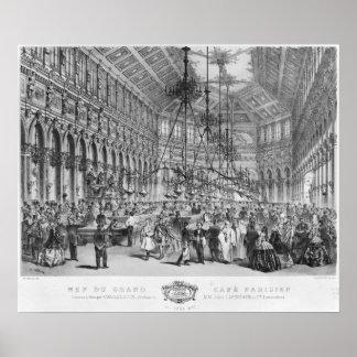 Interior of the 'Grand Cafe Parisien', Paris Poster