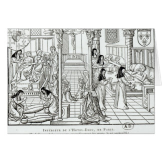 Interior of the Hotel Dieu hospital Greeting Card
