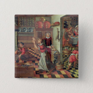 Interior of the Kitchen, the Supper at Emmaus 15 Cm Square Badge