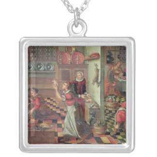 Interior of the Kitchen, the Supper at Emmaus Silver Plated Necklace