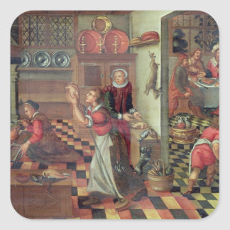 Interior of the Kitchen, the Supper at Emmaus Square Sticker