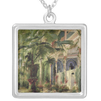 Interior of the Palm House at Potsdam, 1833 Silver Plated Necklace