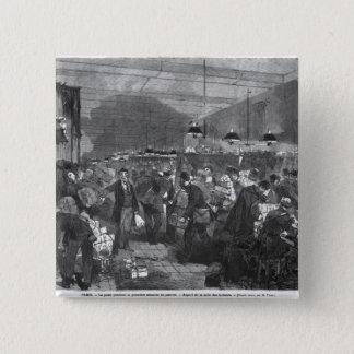 Interior of the Paris post office 15 Cm Square Badge