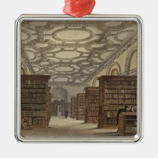 Interior of the Public Library, Cambridge, from 'T Silver-Colored Square Decoration