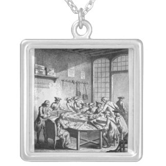 Interior of the Small Post Office in Paris Silver Plated Necklace