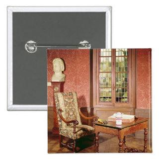 Interior of the study of Honore de Balzac 15 Cm Square Badge
