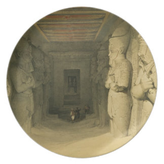 """Interior of the Temple of Abu Simbel, from """"Egypt Dinner Plate"""