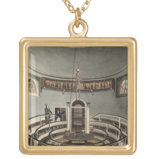 Interior of the Theatre of Anatomy, Cambridge, fro Gold Plated Necklace