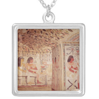 Interior of the Tomb of Sennefer, New Kingdom Silver Plated Necklace