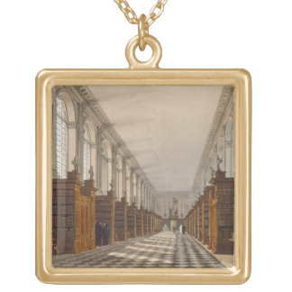 Interior of Trinity College Library, Cambridge, fr Gold Plated Necklace