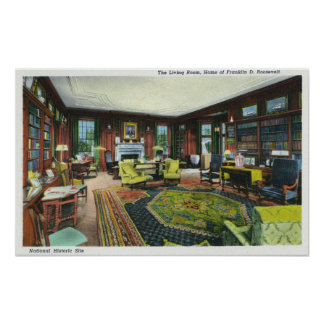 Interior View of FDR s Living Room Posters