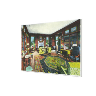 Interior View of FDR's Living Room Stretched Canvas Print
