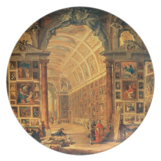 Interior View of The Colonna Gallery, Rome (oil on Plate