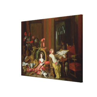 Interior with a Lady at a Harpsichord Canvas Print