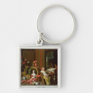 Interior with a Lady at a Harpsichord Silver-Colored Square Key Ring