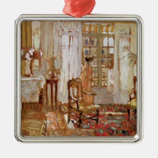 Interior with a Woman in Yellow in Front Christmas Ornament