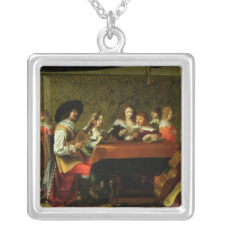 Interior with Musicians and Singers Silver Plated Necklace