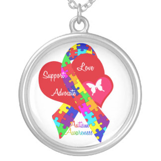 Interlaced Autism Ribbon Silver Plated Necklace