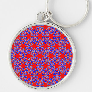 INTERLACED: RED & BLUE ILLUSION  ~ Silver-Colored ROUND KEY RING