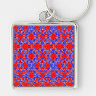 INTERLACED: RED & BLUE ILLUSION  ~ Silver-Colored SQUARE KEY RING