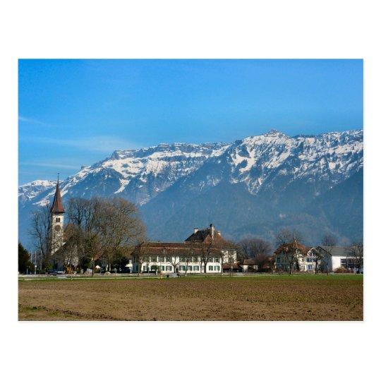 Interlaken, Reformed Church and High School Postcard