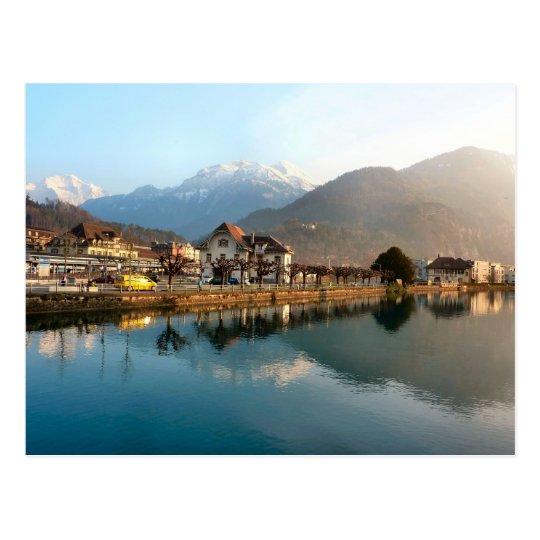 Interlaken West Staion and river Postcard